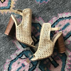 Chinese Laundry nude woven wedge heels